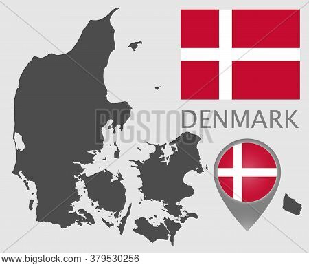 Flag, Map Pointer And Blank Map Of Denmark. High Detail. Vector Illustration