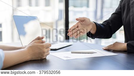 Employer or HR department welcomes new employees, Shaking hands with congratulations or achieving bu