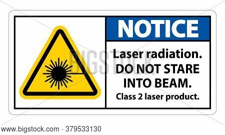 Notice Laser Radiation,do Not Stare Into Beam,class 2 Laser Product Sign On White Background