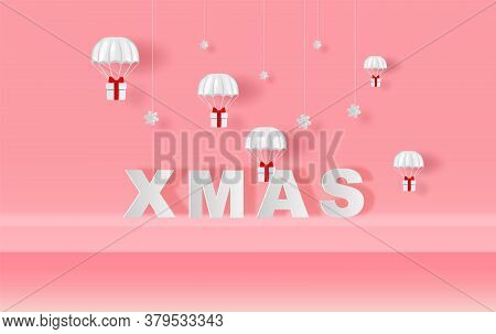 Xmas Of Stage Mock Up Parachute Gift Box Fly Air Paper Cut And Craft Style. Merry Christmas And Happ