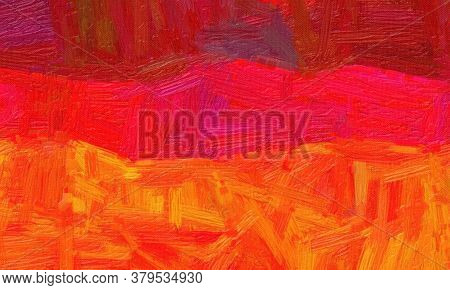 Red And Orange Bristle Brush Oil Paint Background, Digitally Created.