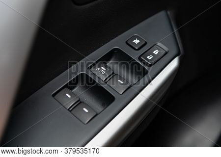 Novosibirsk/ Russia - August 01 2020: Mitsubishi Pajero Sport, Close Up Of A Door Control Panel In A