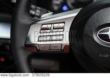 Novosibirsk/ Russia - August 01 2020: Subaru Outback, Car Controller On Steerling Wheel ,music,contr