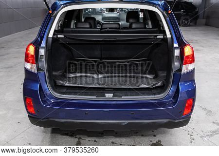 Novosibirsk/ Russia - August 01 2020: Subaru Outback, Close-up Of The Open Trunk, Headlight, Bumper,