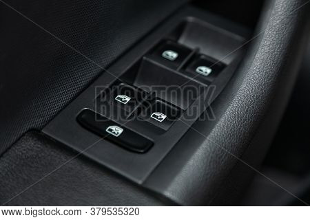 Novosibirsk/ Russia - August 01 2020: Scoda Rapid, Close Up Of A Door Control Panel In A New Modern
