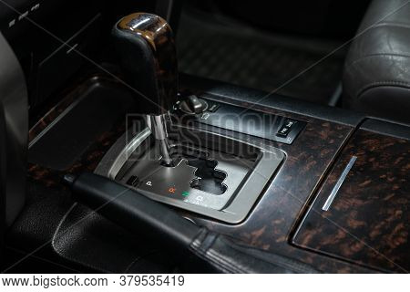 Novosibirsk/ Russia - August 01 2020:toyota Land Cruiser 200, Close Up Of The Manual Gearbox Transmi