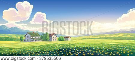 Summer rural landscape with houses and blooming glade in the foreground.