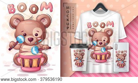 Boom Bear - Poster And Merchandising. Vector Eps 10
