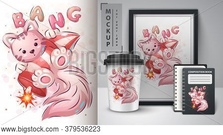 Kitty With Rocket - Poster And Merchandising. Vector Eps 10