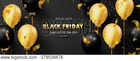 Black Friday Luxury Background With Balloons And Flying Serpentine. Modern Design.universal Vector B