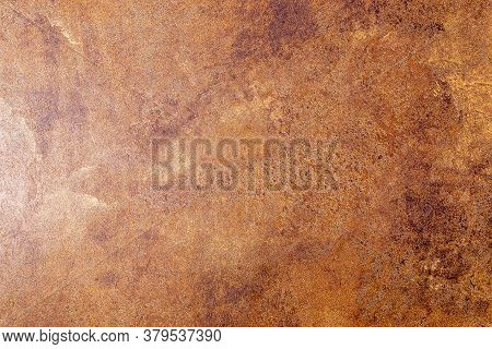 Elegant Dark Brown Leatherette Background. Dermantin Texture. Design Element. Copy Space.