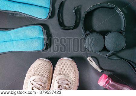 Sports Equipment Sneakers, Fitness Bracelet, Fitness Tracker, Water Bottle, Ankle Weights, Headphone