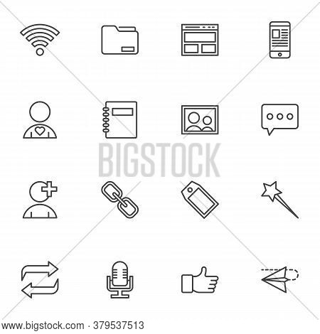 Blogging, Media And Communication Line Icons Set, Outline Vector Symbol Collection, Linear Style Pic