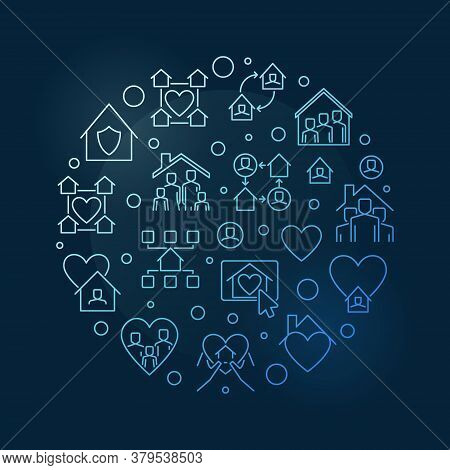 Stay Safe And Stay At Home Outline Vector Concept Round Blue Illustration On Dark Background