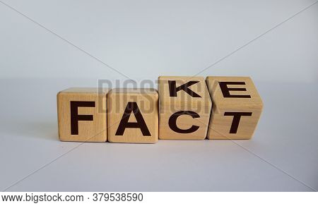 Word Fake Changing In To Fact. Business And Design Concept - Surreal Abstract Geometric Wooden Cubes
