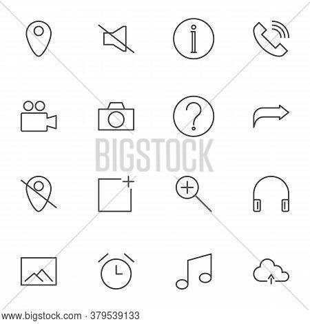Basic Ui Line Icons Set, Outline Vector Symbol Collection, User Interface Linear Style Pictogram Pac