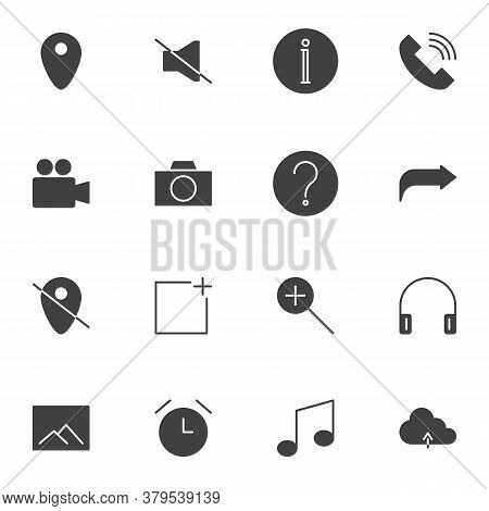 Basic Ui Vector Icons Set, User Interface Modern Solid Symbol Collection, Filled Style Pictogram Pac