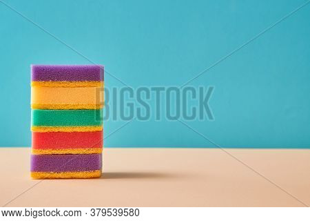 Cleaning. Housekeeping Or Cleaning Supplies. Stack Of Colourful Sponges. Thing For Purging. Copy Spa