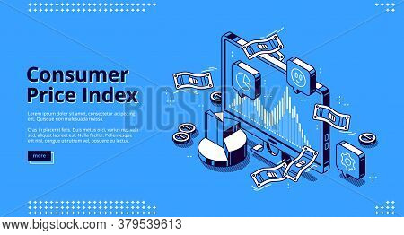 Consumer Price Index Banner. Concept Of Measure Average Change Price For Goods And Services. Vector