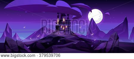 Magic Castle At Night On Mountain, Fairytale Palace With Turrets And Rocky Road Under Purple Sky Wit