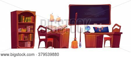 Magic School Interior With Open Book Of Spell, Chalkboard And Bookcase. Vector Cartoon Set Of Furnit