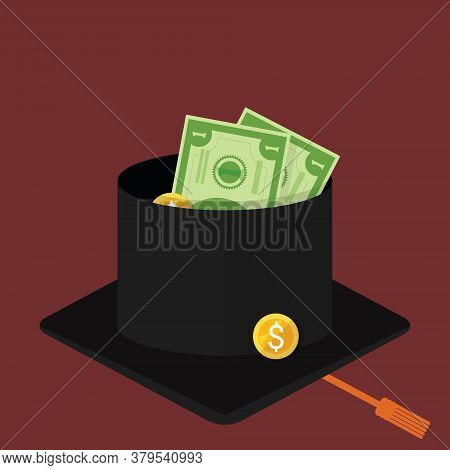 Beggar University Graduated Student Begging With Mortar Cap Or Graduation Hat. Consequences Of Joble