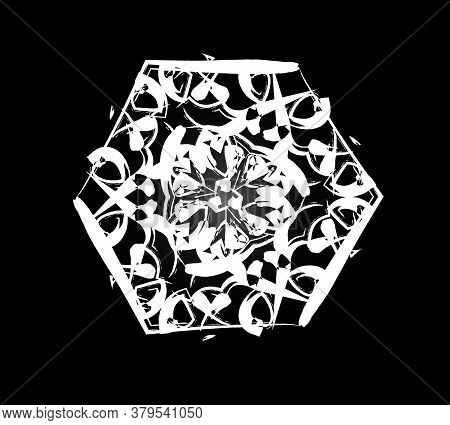 Vector Circular Pattern Texture With Flowers. A Sample Of White Patterns On A Black Background. The