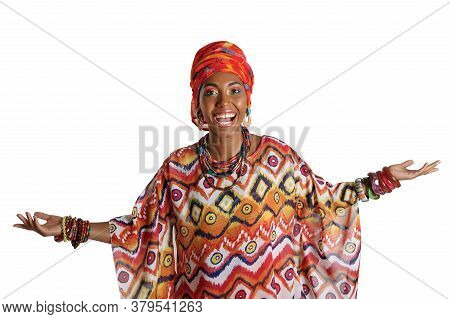 Young And Attractive African American Black Woman In The National African Dress Isolated On A White