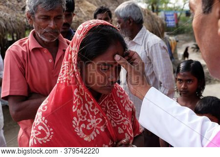 MITRAPUR, INDIA - FEBRUARY 26, 2020: Ash Wednesday celebration in Mitrapur village, West Bengal, India