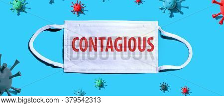 Contagious Theme With Medical Mask And Little Viruses