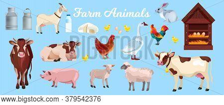 Farm Animals Vector Set With Cows, Pig, Goat, Sheep, Lamb, Goose, Perch, Can. Husbandry Farming Anim