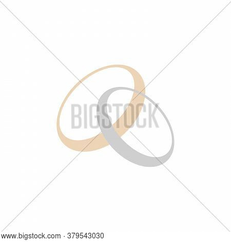 Gold And Silver Rings. Golden Metal Circle. Two Rings. Stock Vector Illustration Isolated On White B