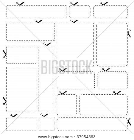 Blank paper banners isolated on white background