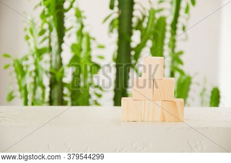 Business Plan Concept For Growth Success Process. Goal Achievement, Career Ladder. Pyramid Of Wooden