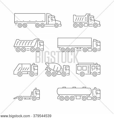 Set Line Icons Of Trucks Isolated On White. Trailer, Dumper, Garbage Truck, Concrete Mixer, Fire Eng