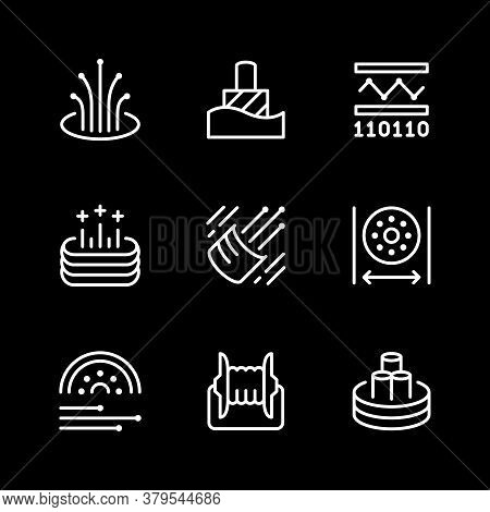 Set Line Icons Of Optical Fiber Isolated On Black. Vector Illustration