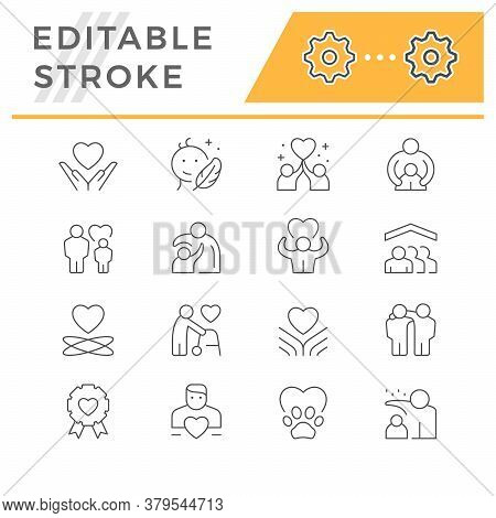 Set Line Icons Of Care And Support Isolated On White. Mother Protection, Friend Hug, Volunteer Sign,
