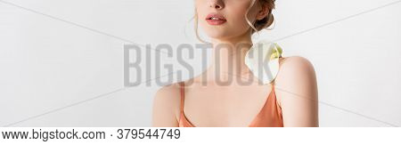 Cropped View Of Elegant Beautiful Blonde Woman Holding Calla Flower On Shoulder Isolated On White, P