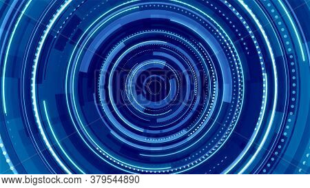 Circle Blue Neon Light Technology Hi-tech Dark Background. Abstract Graphic Digital Future Concept D