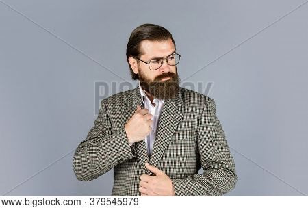 Serious Bearded Man. Handsome And Successful Man In Expensive Suit. He Is In White Shirt And Glasses