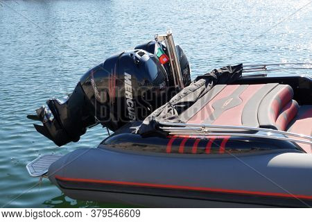 Varna, Bulgaria - August, 01,2020: Outboard Motor On The Transom Of An Inflatable Marine Boat