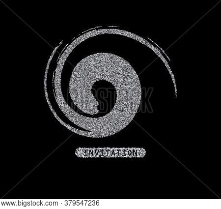 Silver Stain Isolated On Black Background. Abstract Design Element For Inscription, Banner, Card, In