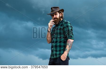 Texas Trip. Mature Hipster With Beard. Brutal Caucasian Hipster With Moustache. Male Barber Care. Be