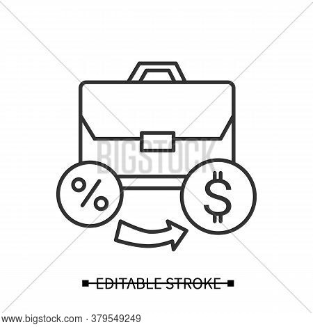 Investment Portfolio Icon. Personal Capital And Business Loan Linear Pictogram With Dollar Sign. Con