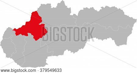 Trencin Region Isolated On Slovakia Map. Gray Background. Backgrounds And Wallpapers.