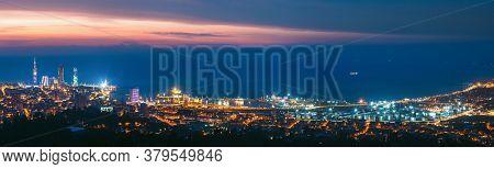 Batumi, Adjara, Georgia. Panorama, Aerial View Of Urban Cityscape At Sunset. Town At Evening Blue Ho