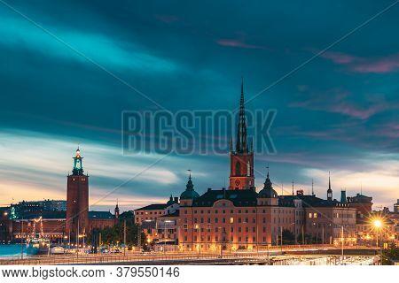 Stockholm, Sweden. Scenic View Of Stockholm Skyline At Summer Evening Night. Famous Popular Destinat