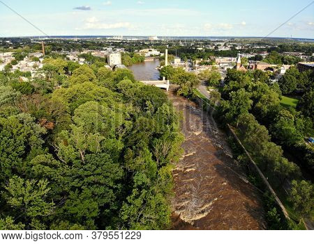 The Aerial View Of The Flooded Water After The Storm In Brandywine River, Wilmington, Delaware, U.s.