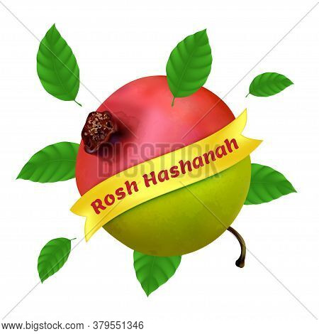 Rosh Hashanah - New Year In Hebrew. Vector Illustration With Apple, Pomegranate And Foliage Isolated