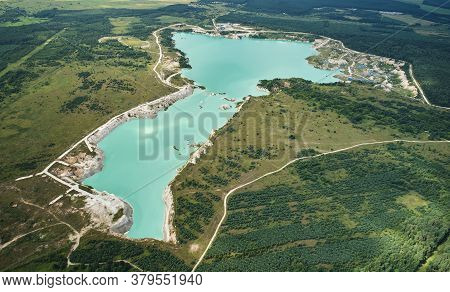 Green Water In Mine Pit